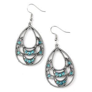 Malibu Macrame Blue Rhinestone Silver Earrings